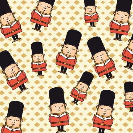 british culture: london guardia patr�n sobre fondo beige. ilustraci�n vectorial