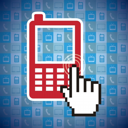 phone with cursor hand, mobile buying. vector illustration Stock Vector - 17784485