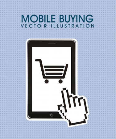 phone with shopping cart, mobile buying. vector illustration Vector