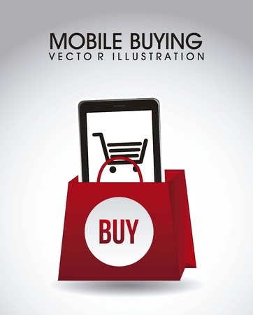 phone with shopping bag, mobile buying. vector illustration Vector
