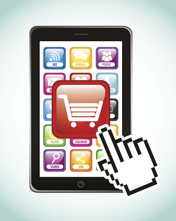 aplication: phone with shopping cart, mobile buying. vector illustration Illustration