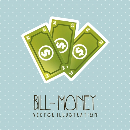 abundance of money: bills cartoon over blue background. vector illustration