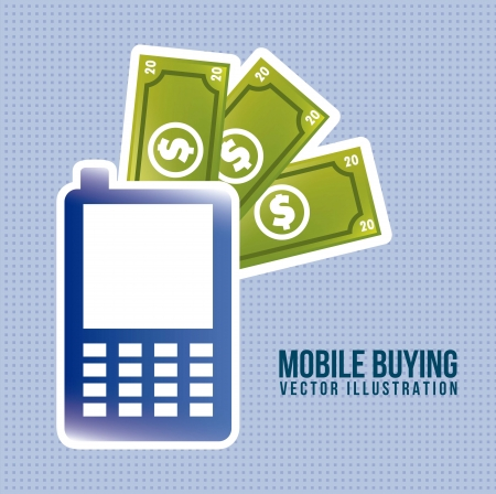 phone with bills, mobile buying. vector illustration Vector