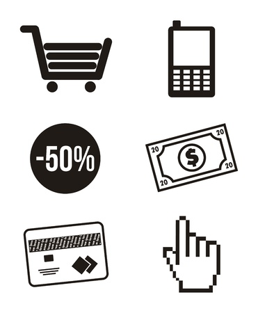 black mobile buying icons isolated. vector illustration Stock Vector - 17784447