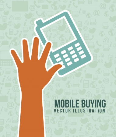phone with hand, mobile buying. vector illustration Stock Vector - 17784494