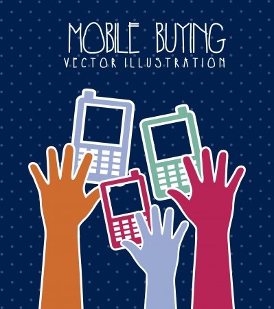 phones with hands, mobile buying. vector illustration Stock Vector - 17784429
