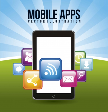 aplication: phone with apps mobile buying. vector illustration