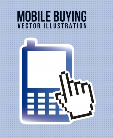phone with cart, mobile buying. vector illustration Vector