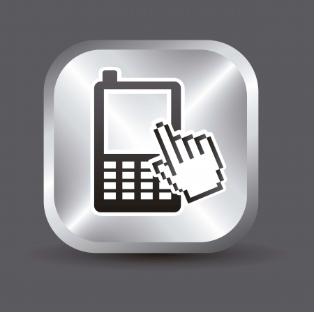 phone with cursor hand, mobile buying. vector illustration Stock Vector - 17784419