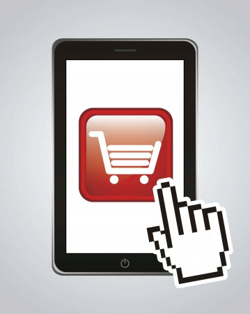 phone with shopping cart, mobile buying. vector illustration Stock Vector - 17784424