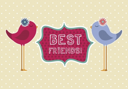mejores amigas: p�jaros lindos sobre fondo beige, mejores amigos. ilustraci�n vectorial Vectores