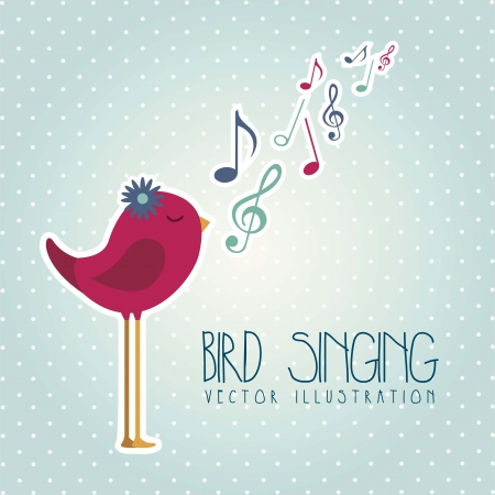 bird singing over blue background. vector illustration Vector