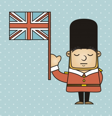 english culture: london guard with london flag. vector illustration Illustration