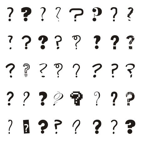 answer question: domande le icone su sfondo bianco. illustrazione vettoriale