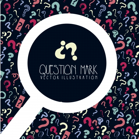 an answer: questions icons over blue background. vector illustration Illustration