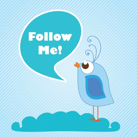 Follow Me, label with cartoon bird. Vector illustration Vector