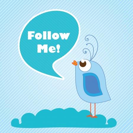 Follow Me, label with cartoon bird. Vector illustration Stock Vector - 17866952