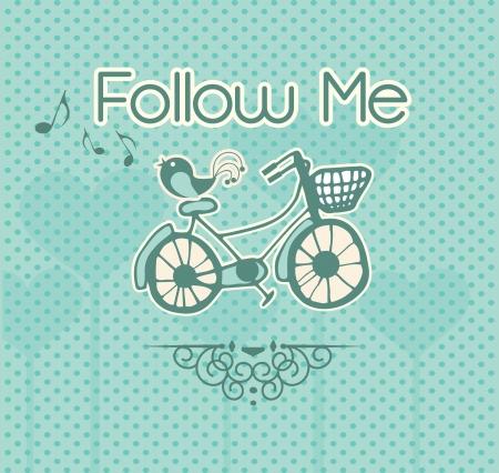 follow the leader: Follow Me, etiket met vogel en fiets. Vector illustratie