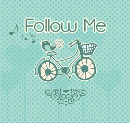 follow me: Follow Me, label with bird and bicycle. Vector illustration