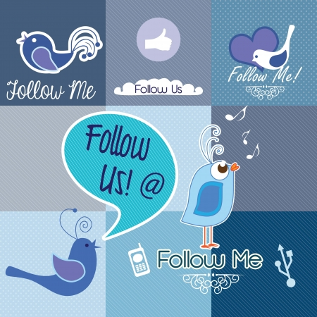 Follow me and follow us, Icons collection. Vector illustration Vector
