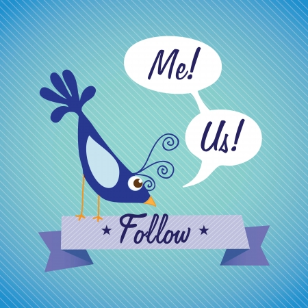 Follow Me and follow  Us, Icon with blue  bird. Vector illustration Vector