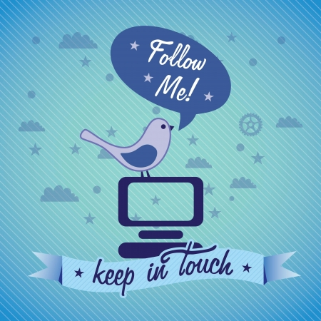 Follow Me, label with  bird (keep in touch). Vector illustration Vector