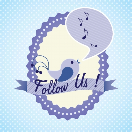 Follow Us, label with little bird singing. Vector illustration Vector