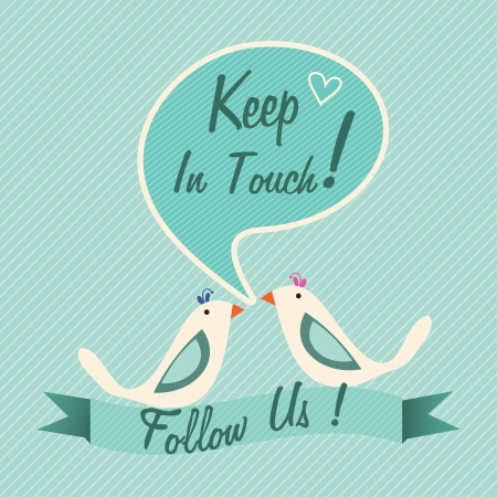 Follow Us, label with two birds(keep in touch). Vector illustration Vector