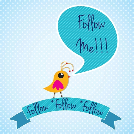 follower: Follow me, label with little colorful bird. Vector illustration