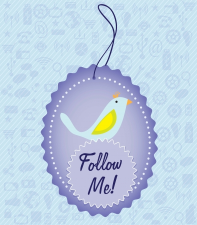 Follow me, label with little bird. Vector illustration Vector