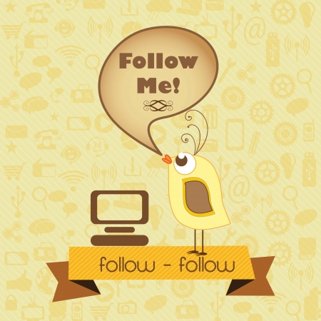 Follow Me, Icon with little bird and retro colors. Vector illustration Vector