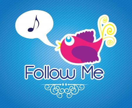 Follow me , Icon with little colorful  bird. Vector illustration