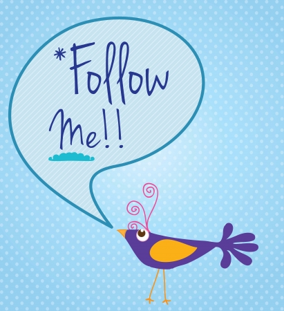 follow icon: Follow Me!, Icon with little purple bird. Vector illustration