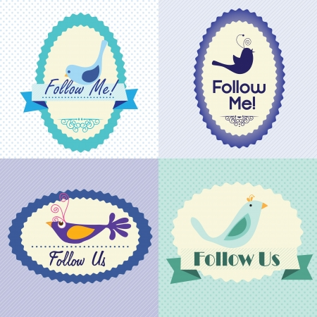 follow me: Follow me and follow us, Icons collection. Vector illustration