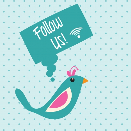 Follow Us, Icon with little bird. Vector illustration Stock Vector - 17866958