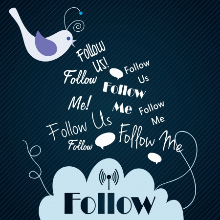 follow icon: Follow me and follow us, Icon with little bird on dark blue background. Vector illustration