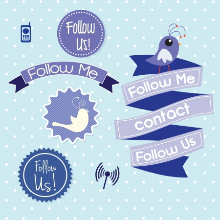 Follow me and follow us, Icons on blue background. Vector illustration Vector