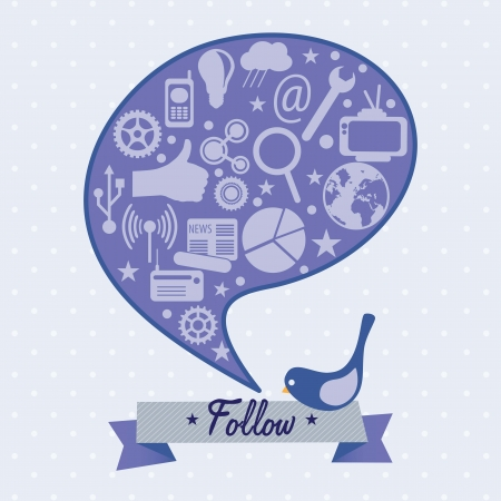 Follow me and follow us, Icon with little bird. Vector illustration Vector
