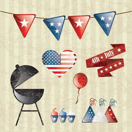 USA Icons colletion, grunge style on vintage background. Vector Vector