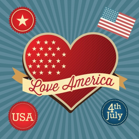 Love America (big heart and Usa flag). Vintage background Stock Vector - 17867231