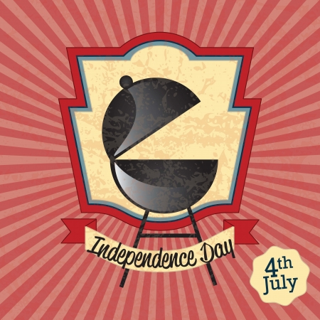 USA Icons Independence Day celebration, (barbecue). On vintage background Vector