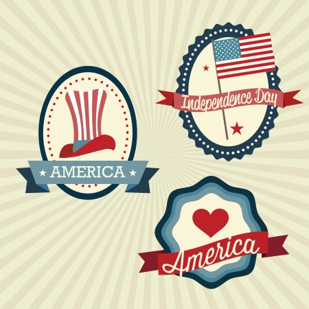USA Labels colletion, on vintage background. Vector Illustration Vector
