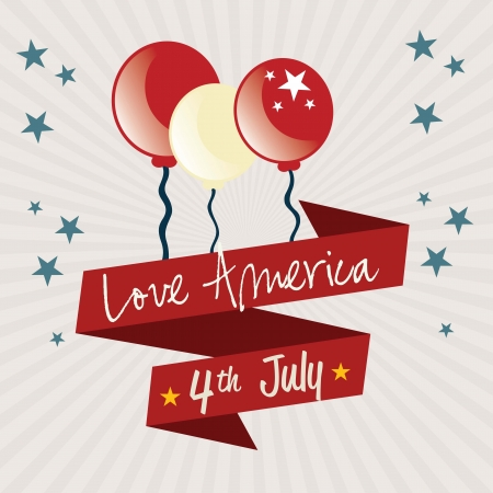 Usa Icons, for celebrate with balloons, on vintage background. Vector Illustration Vector