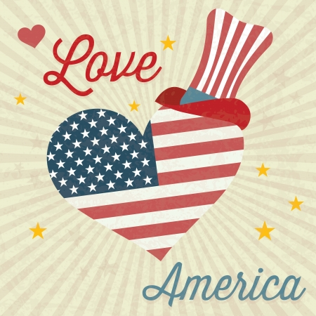 commemorative: Love America (big heart and Usa flag) with commemorative hat. Vintage background Illustration