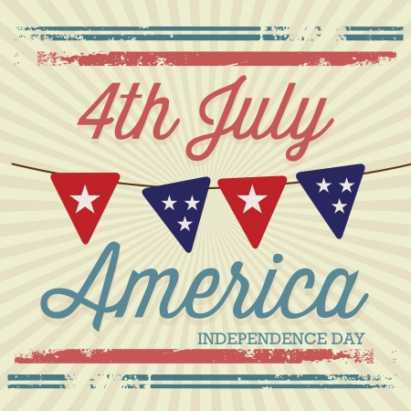 USA (4th July commemorative poster), vintage style. Vector illustration Vector