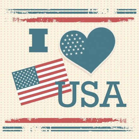 USA Icons (I Love Usa) on vintage background.Vector illustration Vector