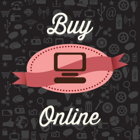 online store: Buy Online, on black background with Icons. Vector