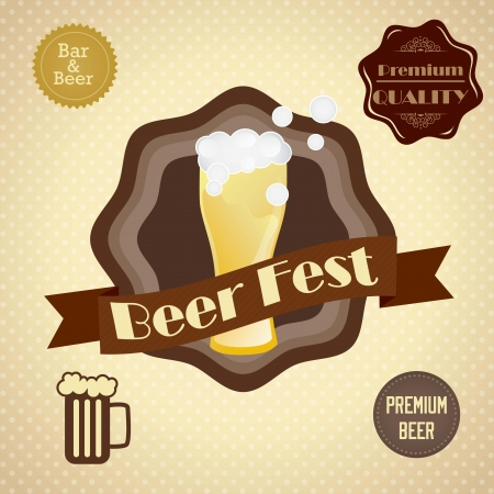 Beer Labels with retro colors, on vintage background. Vector illustration Vector