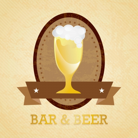 Glass of beer, with bubbles, on vintage background Vector