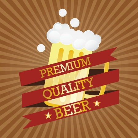 Premium Quality Beer (Use for poster, banner, etc). Vector Illustration Vector